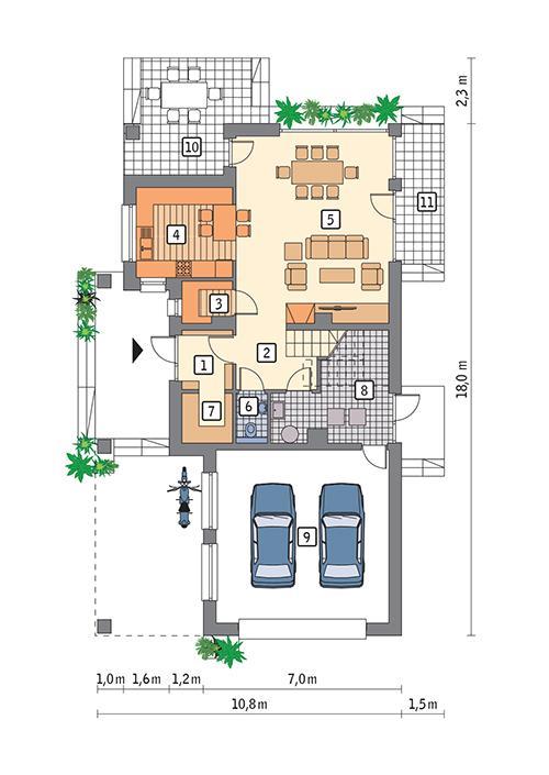 Rzut parteru POW. 107,0 m²