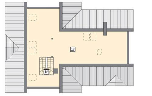 Rzut poddasza POW. 142,5 m²
