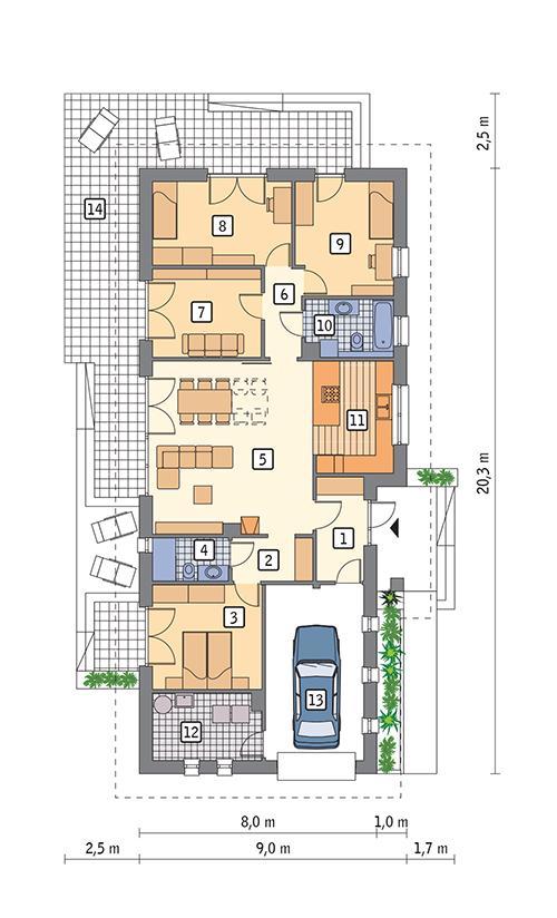 Rzut parteru POW. 136,4 m²