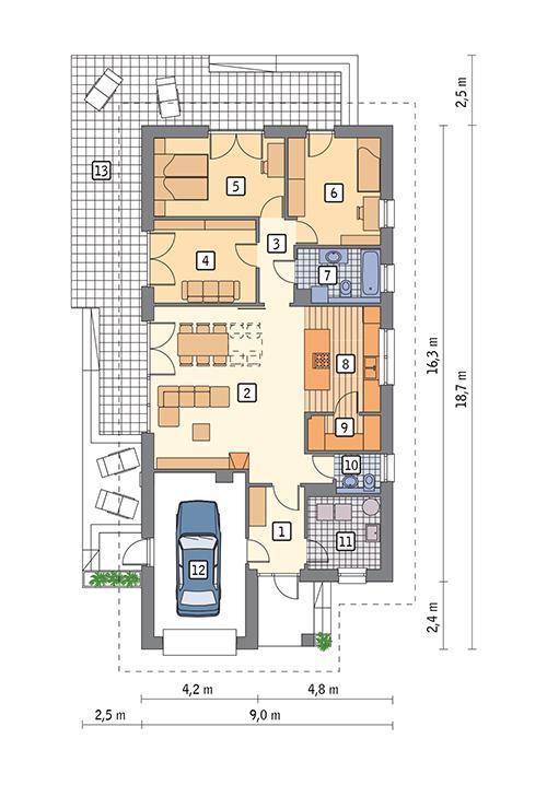 Rzut parteru POW. 122,7 m²