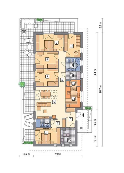 Rzut parteru POW. 139,8 m²
