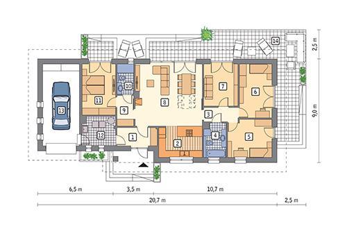 Rzut parteru POW. 138,5 m²
