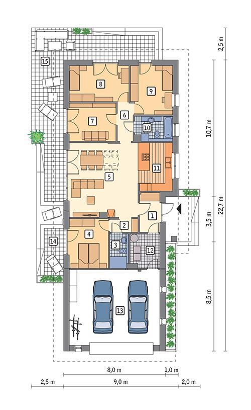 Rzut parteru POW. 153,6 m²