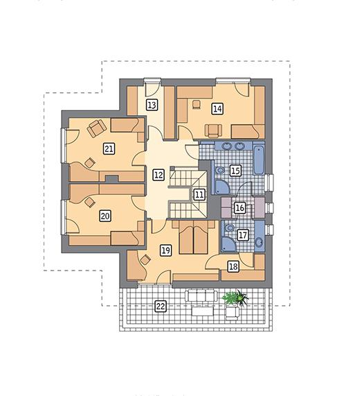 Rzut piętra POW. 123,6 m²