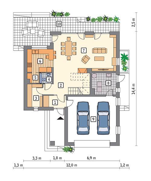 Rzut parteru POW. 114,6 m²