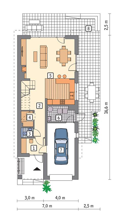 Rzut parteru POW. 80,5 m²