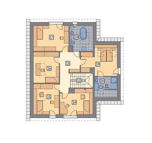 Rzut poddasza POW. 117,8 m²