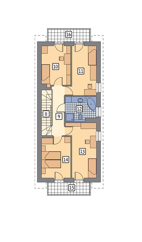 Rzut piętra POW. 76,1 m²