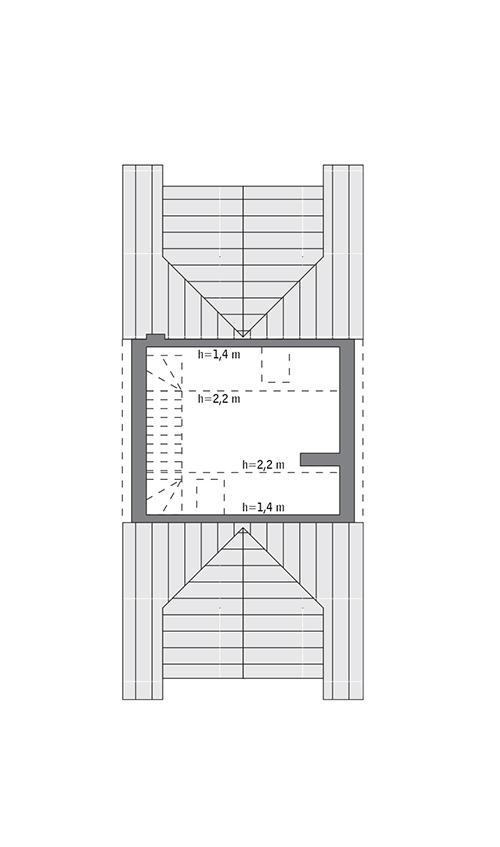 Rzut poddasza: do indywidualnej adaptacji (18,3 m2 powierzchni użytkowej)