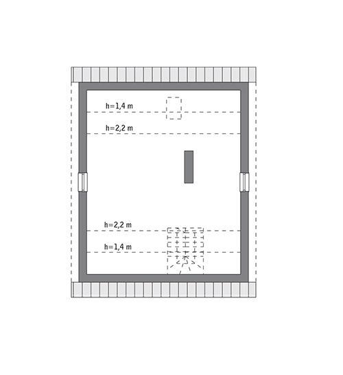 Rzut poddasza: do indywidualnej adaptacji (49,5 m2 powierzchni użytkowej)