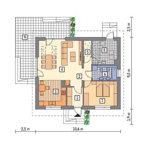 Rzut parteru POW. 74,3 m²