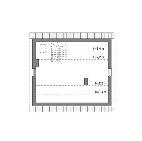 Rzut poddasza lustro: do indywidualnej adaptacji (47,9 m2 powierzchni użytkowej)