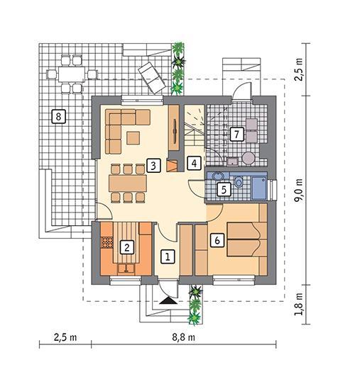 Rzut parteru POW. 58,1 m²