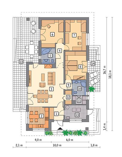 Rzut parteru POW. 124,9 m²