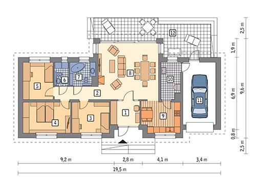 Rzut parteru POW. 118,9 m²