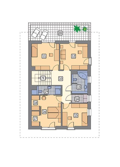 Rzut piętra POW. 106,1 m²