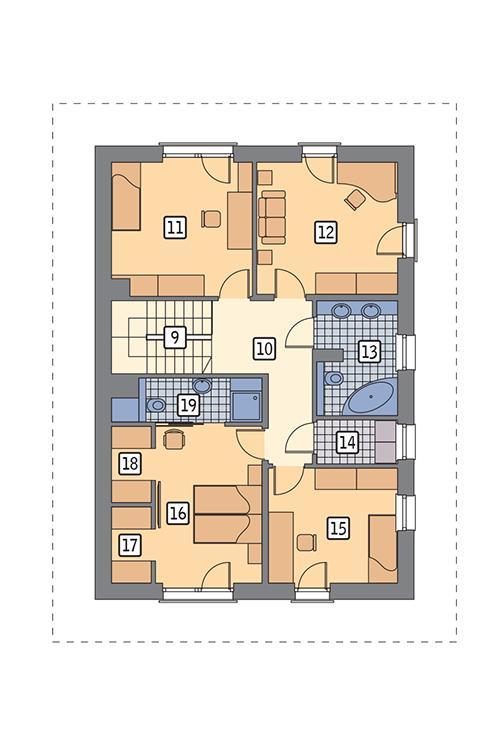 Rzut piętra POW. 87,1 m²