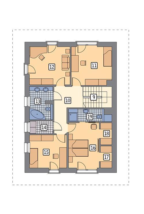 Rzut piętra lustro POW. 87,1 m²