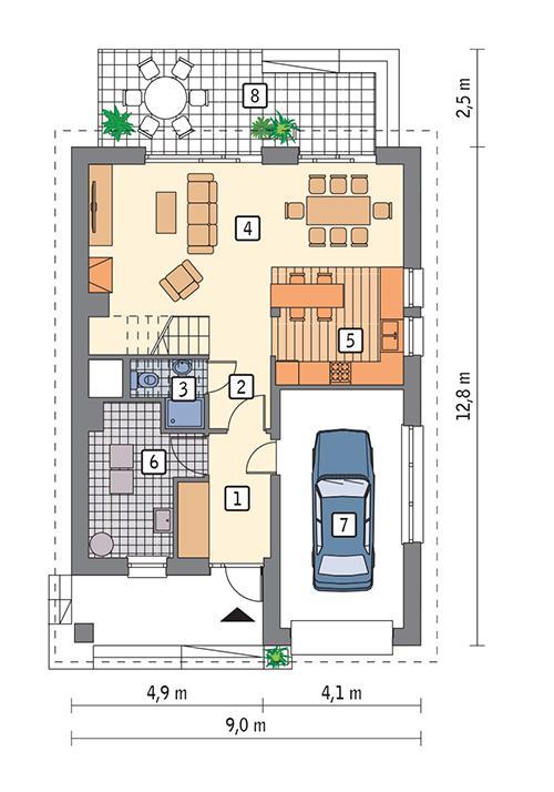 Rzut parteru POW. 77,3 m²