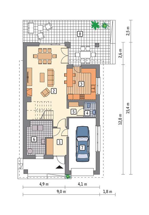 Rzut parteru POW. 92,1 m²