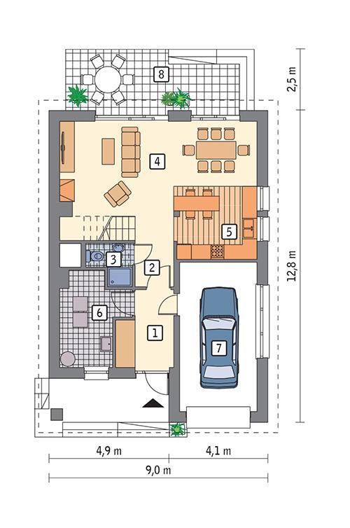 Rzut parteru POW. 77,4 m²