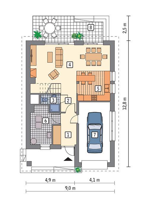 Rzut parteru POW. 77,2 m²