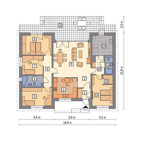 Rzut parteru POW. 125,3 m²