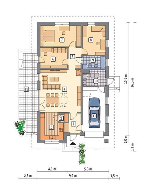 Rzut parteru POW. 122,8 m²
