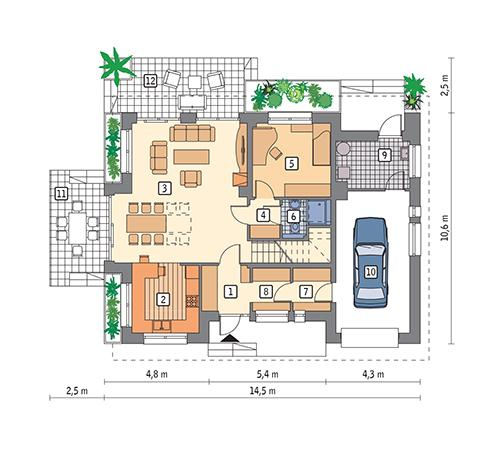 Rzut parteru POW. 101,4 m²