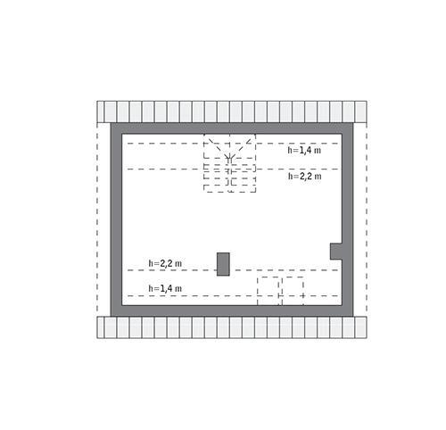Rzut poddasza: do indywidualnej adaptacji (37,6 m2 powierzchni użytkowej)