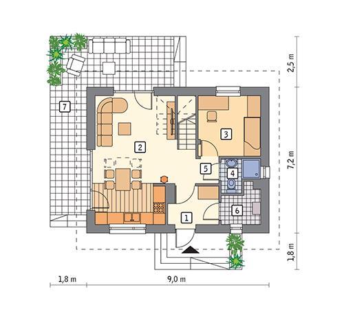 Rzut parteru POW. 45,9 m²