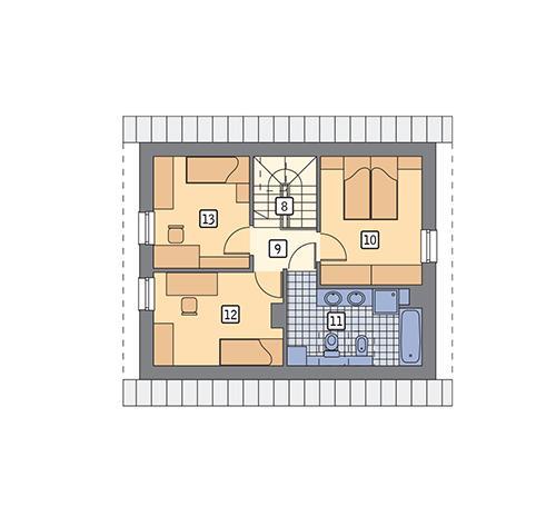 Rzut poddasza POW. 49,1 m²