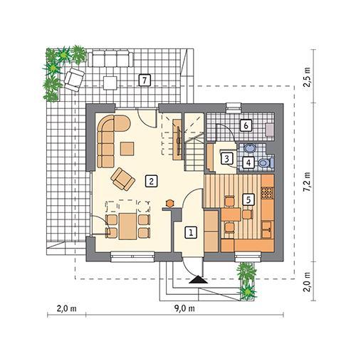 Rzut parteru POW. 46,0 m²