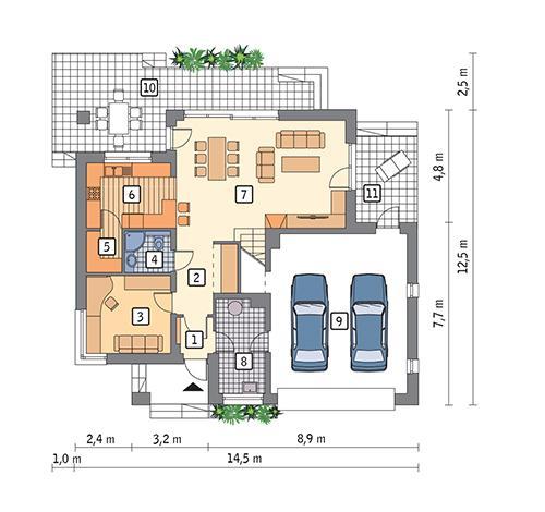 Rzut parteru POW. 119,0 m²