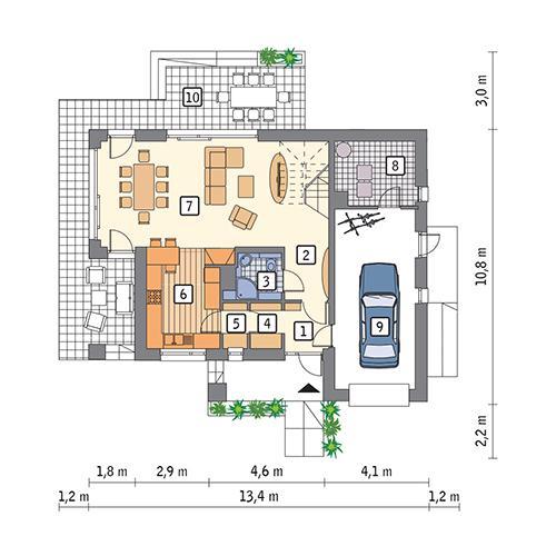 Rzut parteru POW. 91,3 m²