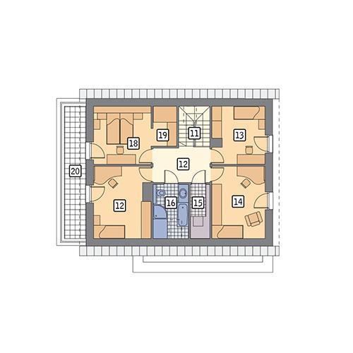 Rzut poddasza POW. 80,8 m²