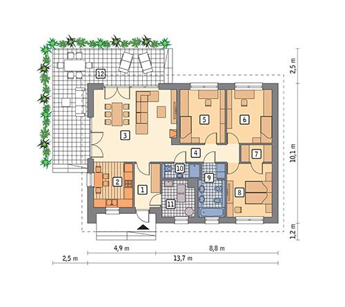 Rzut parteru POW. 105,4 m²