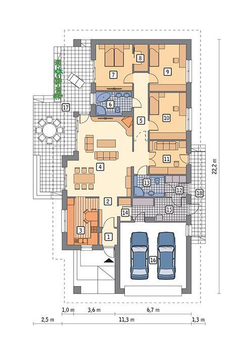 Rzut parteru POW. 169,8 m²