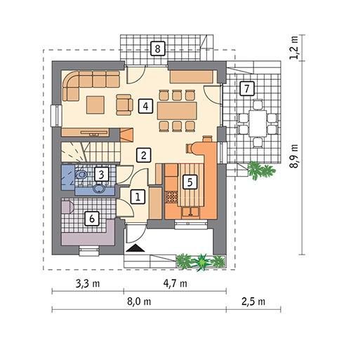 Rzut parteru POW. 45,7 m²