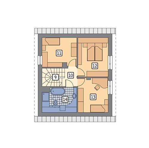 Rzut poddasza POW. 53,6 m²