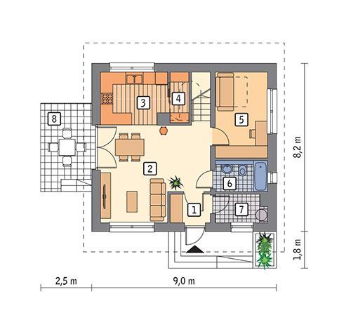 Rzut parteru POW. 52,7 m²