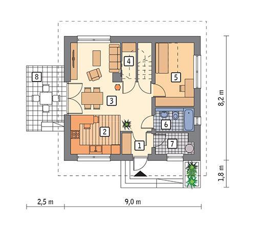 Rzut parteru POW. 52,6 m²