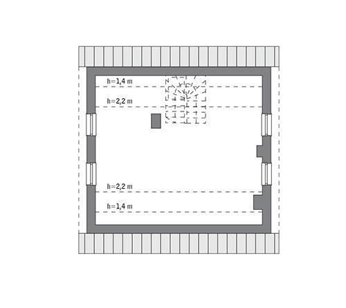 Rzut poddasza: do indywidualnej adaptacji (41,1 m2 powierzchni użytkowej)