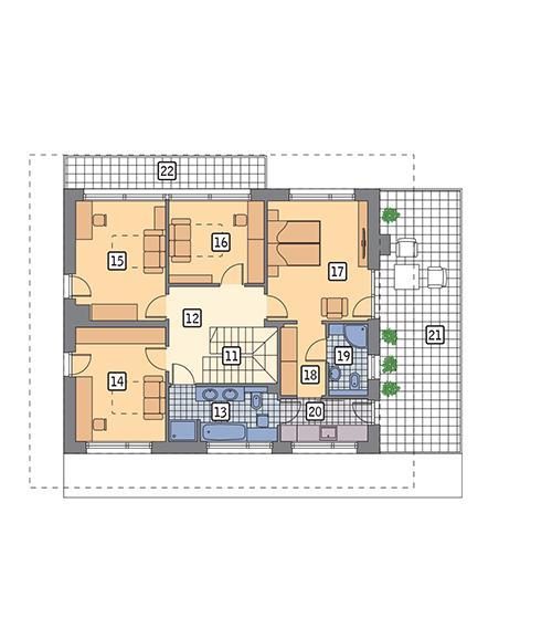 Rzut piętra POW. 123,8 m²