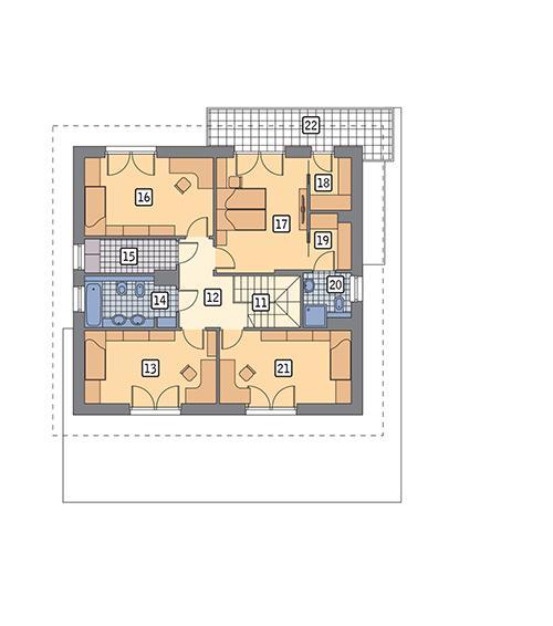 Rzut piętra POW. 101,1 m²