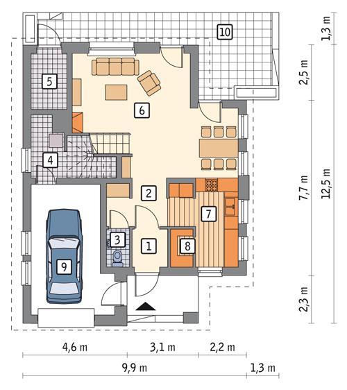 Rzut parteru POW. 79,1 m²