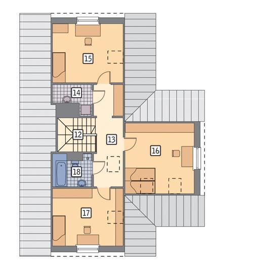 Rzut poddasza POW. 77,0 m²