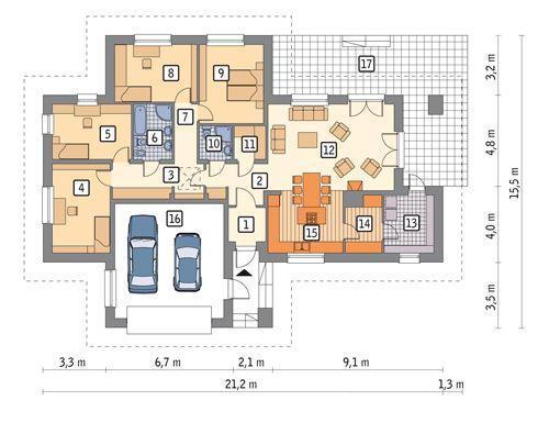 RZUT PARTERU POW. 175,4 m²