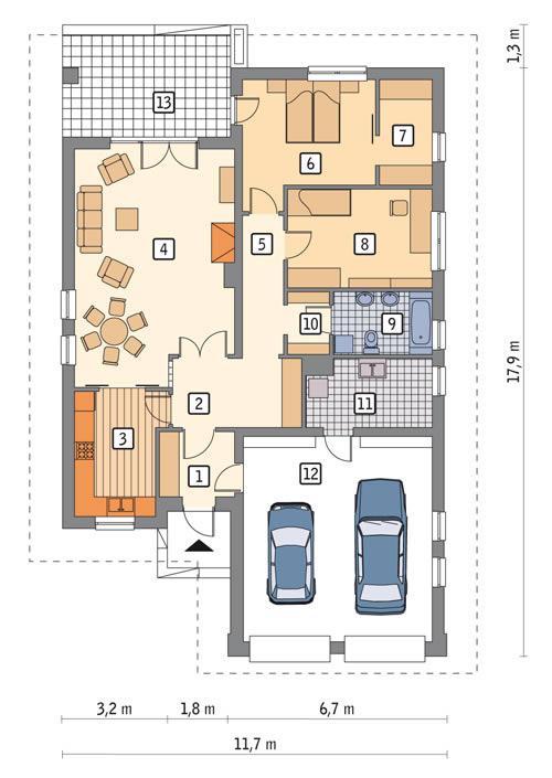 Rzut parteru POW. 141,9 m²