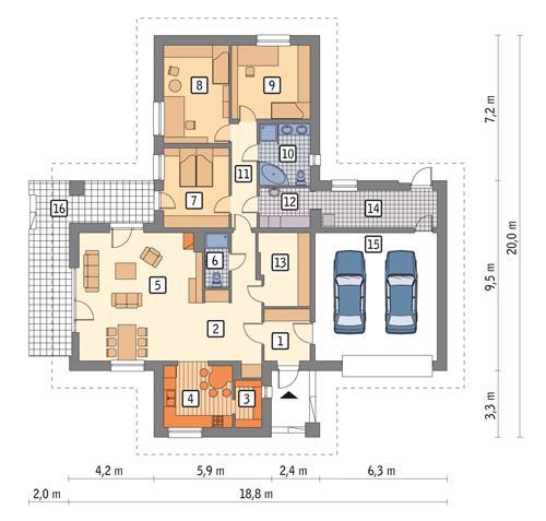 Rzut parteru POW. 194,0 m²